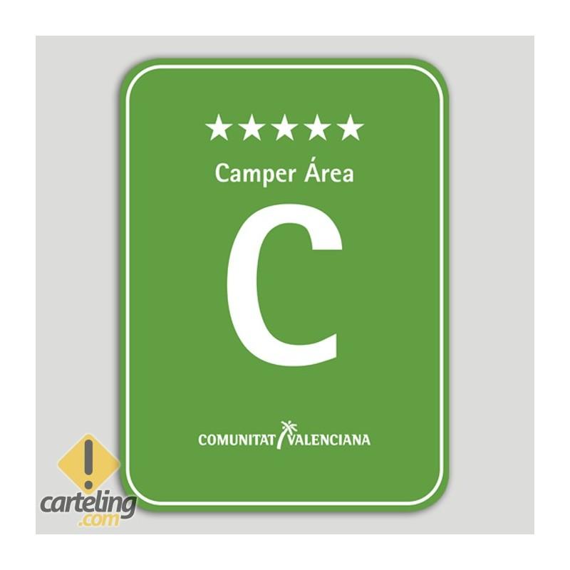 Placa distintivo Camping Camper Área cinco estrellas - Comunidad Valenciana
