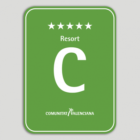 Placa distintivo Camping Resort cinco estrellas - Comunidad Valenciana