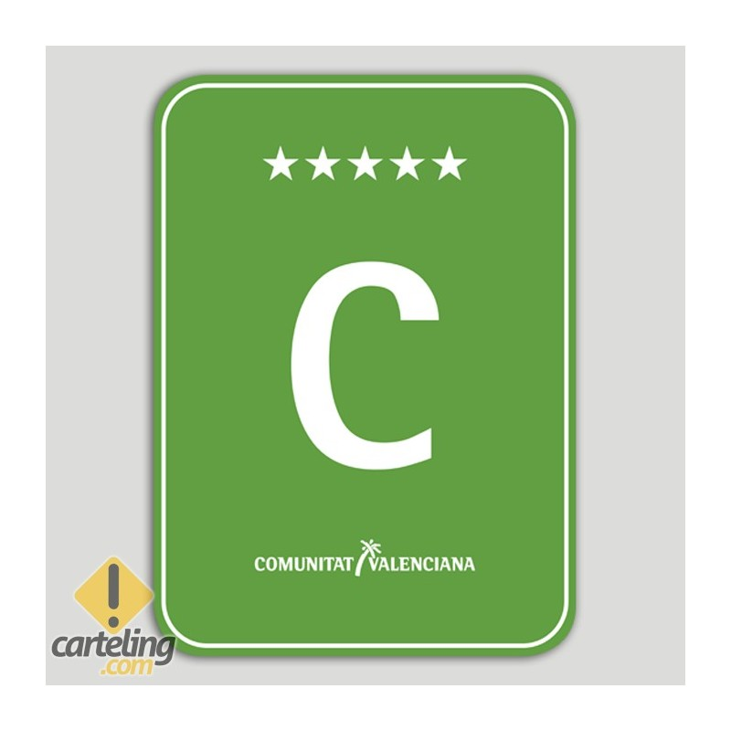 Placa distintivo Camping cinco estrellas - Comunidad Valenciana