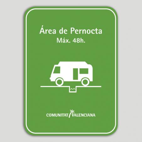 Placa distintivo Área de pernocta en tránsito para autocaravanas - Comunidad Valenciana