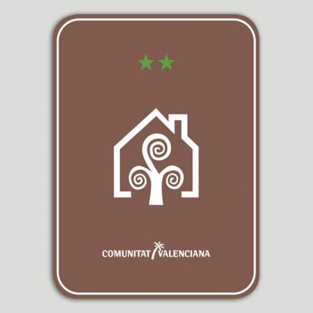 Placa distintivo Casa Rural dos estrellas - Comunidad Valenciana