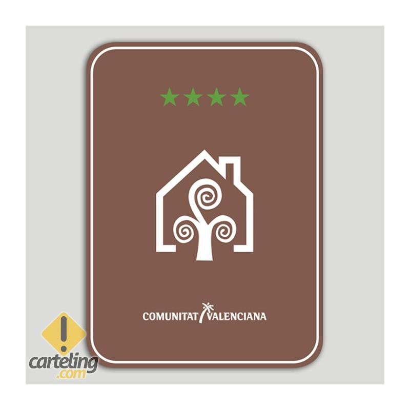 Placa distintivo Casa Rural cuatro estrellas - Comunidad Valenciana