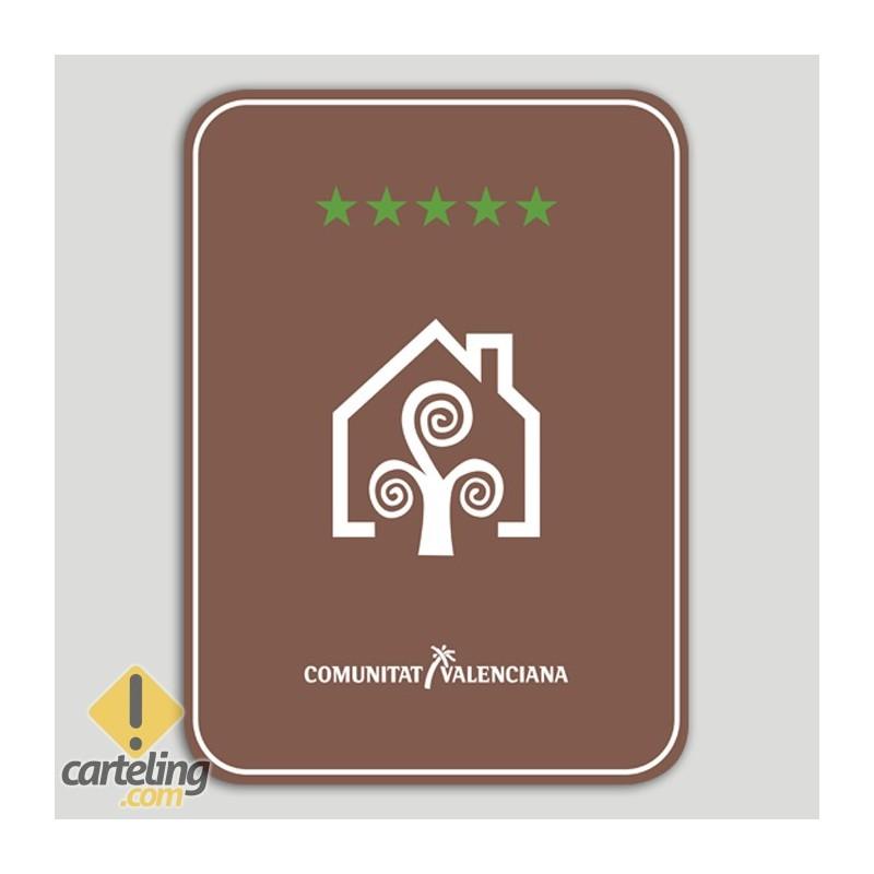 Placa distintivo Casa Rural cinco estrellas - Comunidad Valenciana