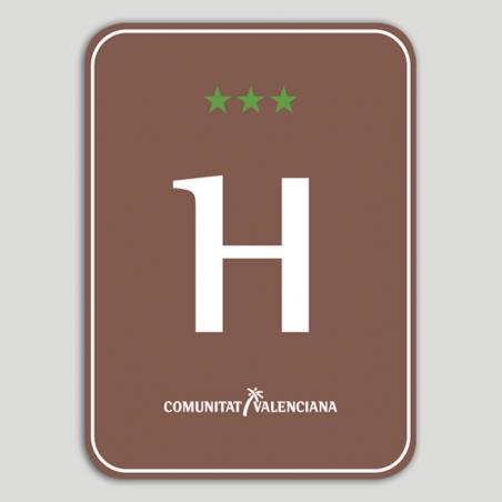 Placa distintivo Hotel Rural tres estrellas - Comunidad Valenciana