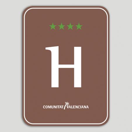 Placa distintivo Hotel Rural cuatro estrellas - Comunidad Valenciana