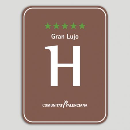 Placa distintivo Hotel Rural cinco estrellas, gran lujo - Comunidad Valenciana