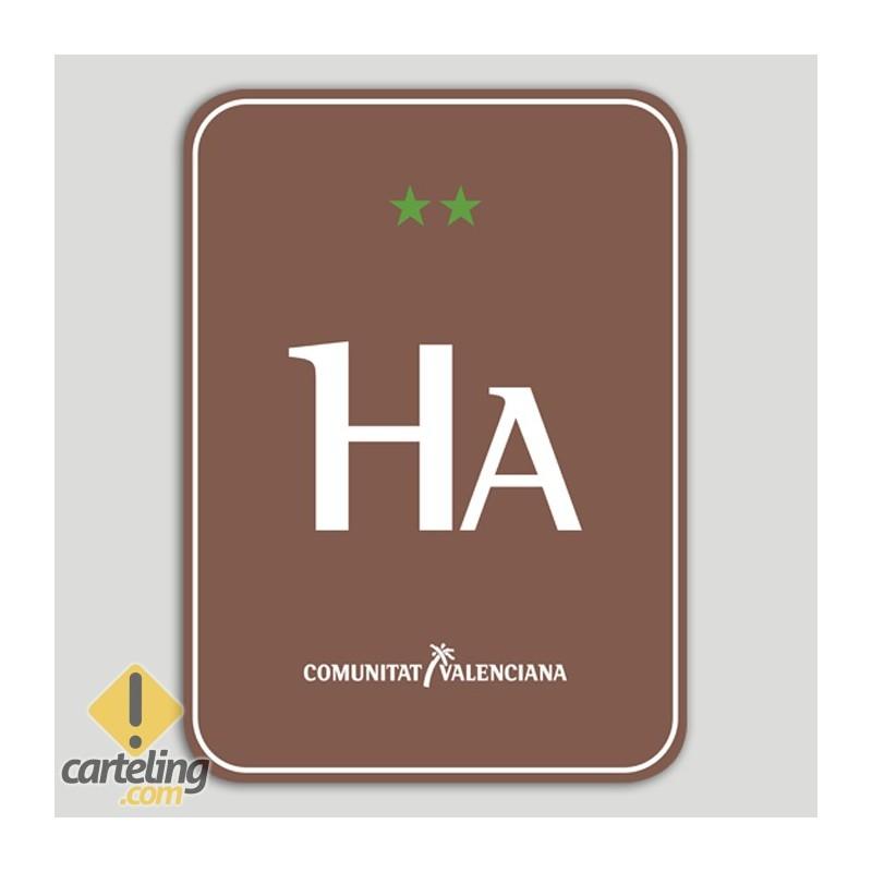 Placa distintivo Hotel Apartamento Rural dos estrellas - Comunidad Valenciana