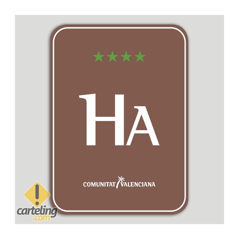 Placa distintivo Hotel Apartamento Rural cuatro estrellas - Comunidad Valenciana