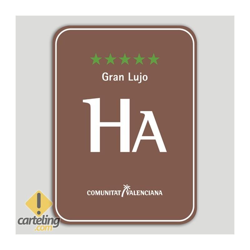 Placa distintivo Hotel Apartamento Rural cinco estrellas, gran lujo - Comunidad Valenciana