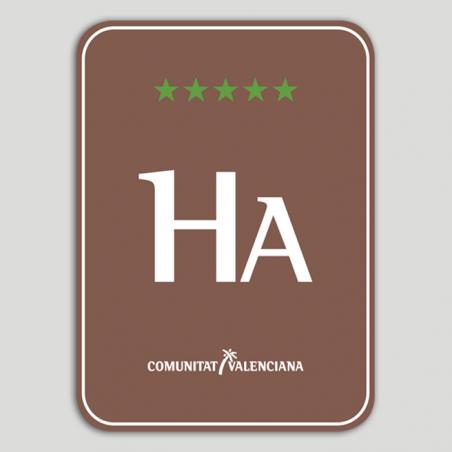 Placa distintivo Hotel Apartamento Rural cinco estrellas - Comunidad Valenciana