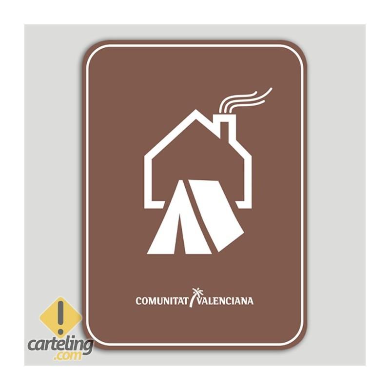 Placa distintivo Acampada en Finca Particular, con vivienda habitada. - Comunidad Valenciana
