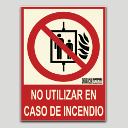 No utilizar en caso de incendio (ascensor)