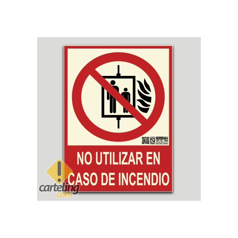 No utilitzeu en cas d'incendi (ascensor)