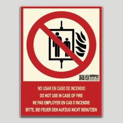 No utilizar en caso de incendio (ascensor) - cuatro idiomas