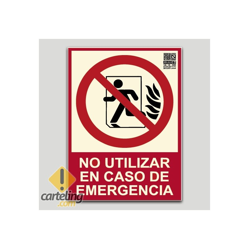 No utilizar en caso de emergencia (Puerta) (en español)