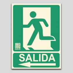 Salida con pictograma y flecha a la izquierda (en español)