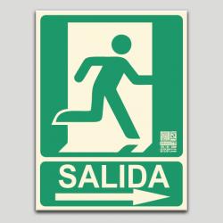 Salida con pictograma y flecha a la derecha (en español)