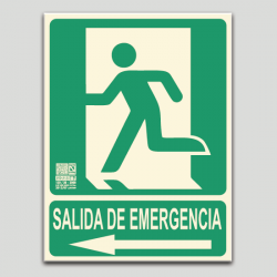 Salida de emergecia con pictograma y flecha a la izquierda