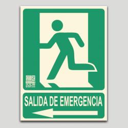 Salida de emergencia con pictograma y flecha a la izquierda (en español)