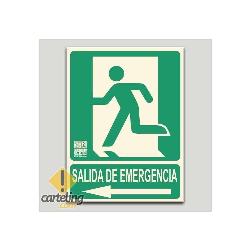 Salida de emergencia con pictograma y flecha a la izquierda