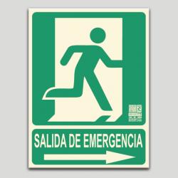 Salida de emergecia con pictograma y flecha a la derecha (en español)
