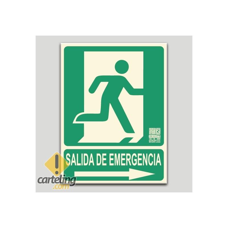Salida de emergencia con pictograma y flecha a la derecha (en español)