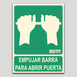 Empujar barra para abrir puerta (en español)