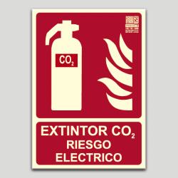 Extintor de CO2 - Riesgo eléctrico (en español)