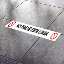 No pasar esta línea (Adhesivo rugoso)