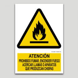 Atención, prohibido fumar, encender fuego, acercar llamas o productos que hagan chispa