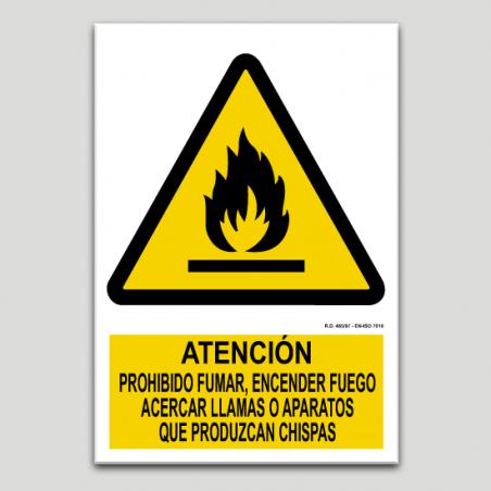 Atenció, prohibit fumar, encendre foc, acostar flames o productes que facin espurna
