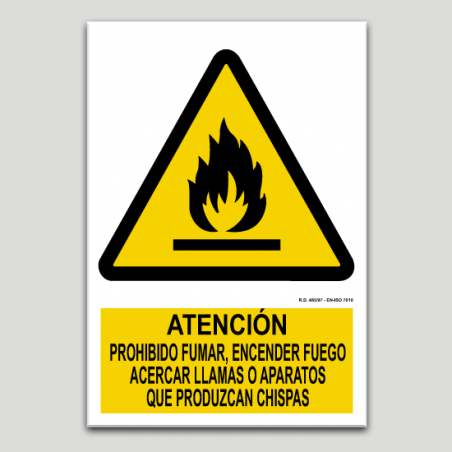 Warning, no smoking, lighting flames, approaching with flames or products that make sparks