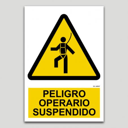 Peligro operario suspendido
