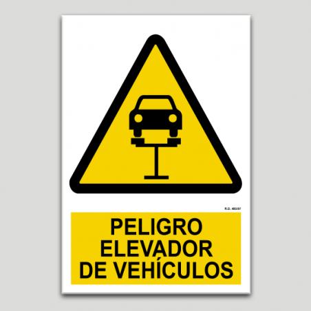 Peligro, elevador de vehículos