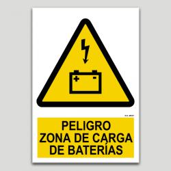 Peligro, zona de carga de baterías