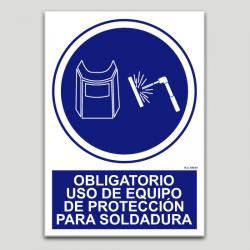 Obligatorio equipo de protección contra soldadura