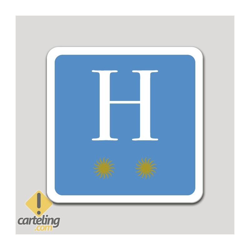 Placa distintivo hotel dos estrellas - Asturias
