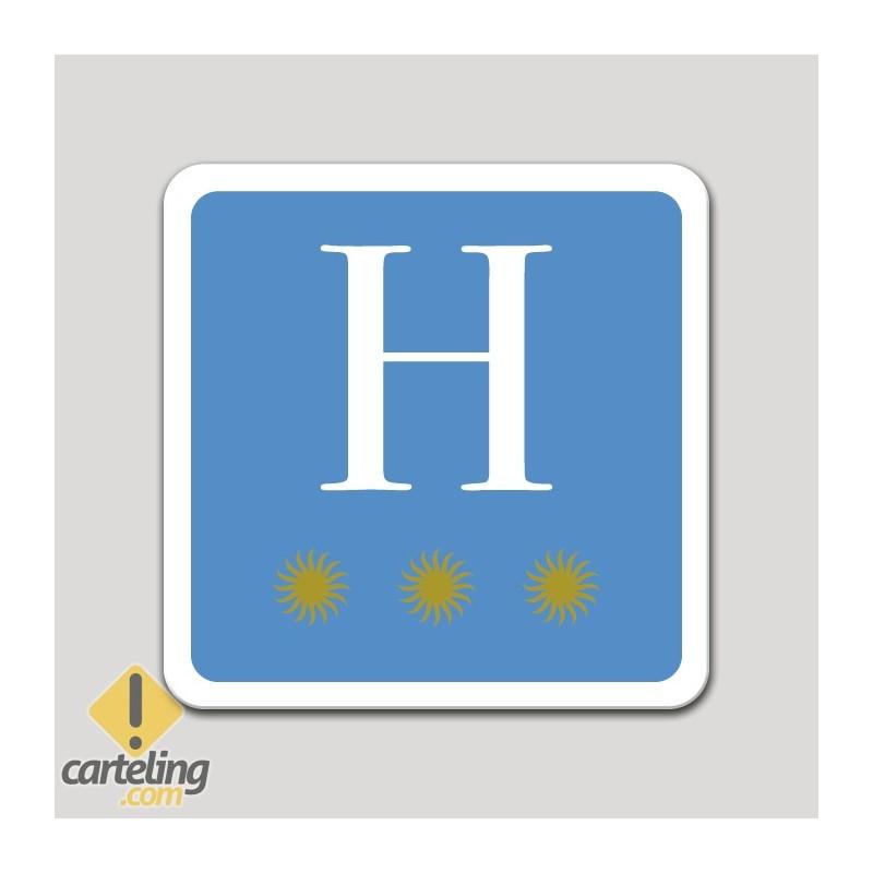 Placa distintivo hotel tres estrellas - Asturias