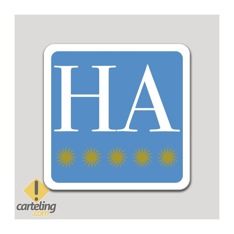 Placa distintivo hotel apartamento cinco estrellas - Asturias