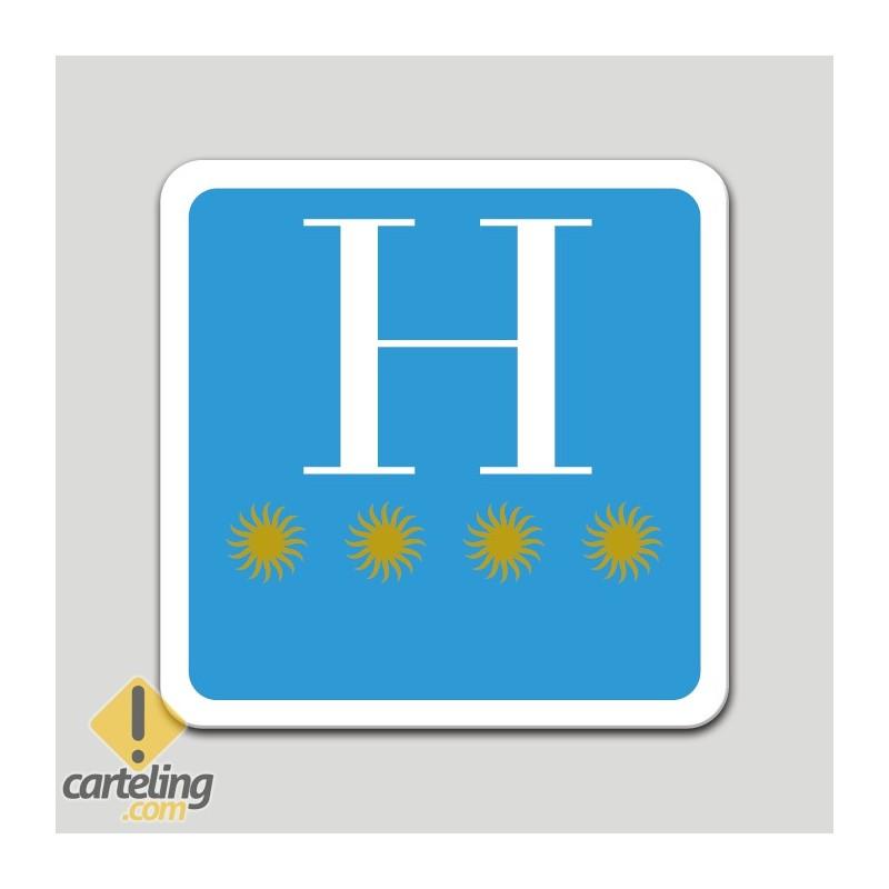 Placa distintivo hotel cuatro estrellas - Galicia