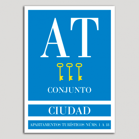 Placa distintivo Apartamento turístico - Conjunto - Ciudad - Tres llaves-oro.Andalucía.