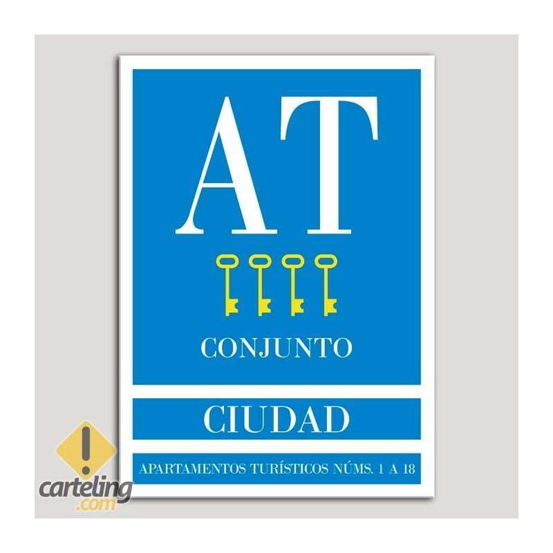 Placa distintivo Apartamento turístico - Conjunto - Ciudad - Cuatro llaves-oro.Andalucía.