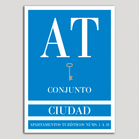 Placa distintivo Apartamento turístico - Conjunto - Ciudad - Una llave-plata.Andalucía.