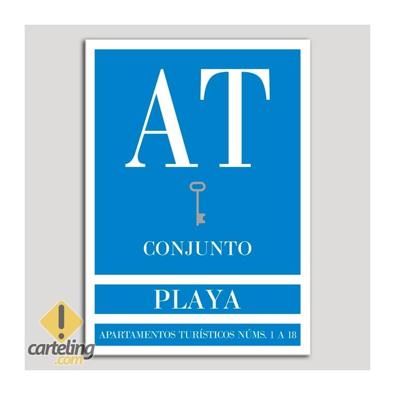 Placa distintivo Apartamento turístico - Conjunto - Playa - Una llave-plata.Andalucía.