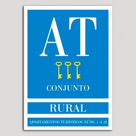 Placa distintivo Apartamento turístico - Conjunto - Rural  - Tres llaves-oro.Andalucía.