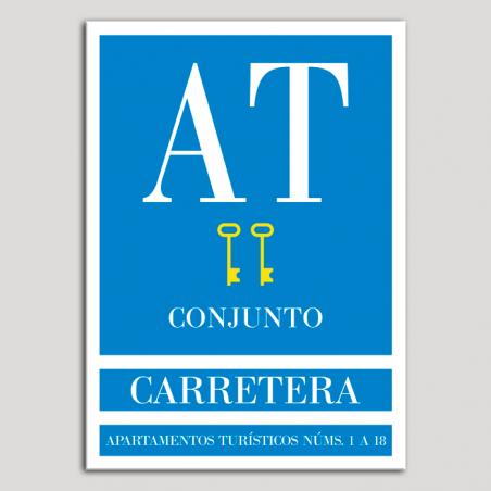 Placa distintivo Apartamento turístico - Conjunto - Carretera - Dos llaves-oro.Andalucía.