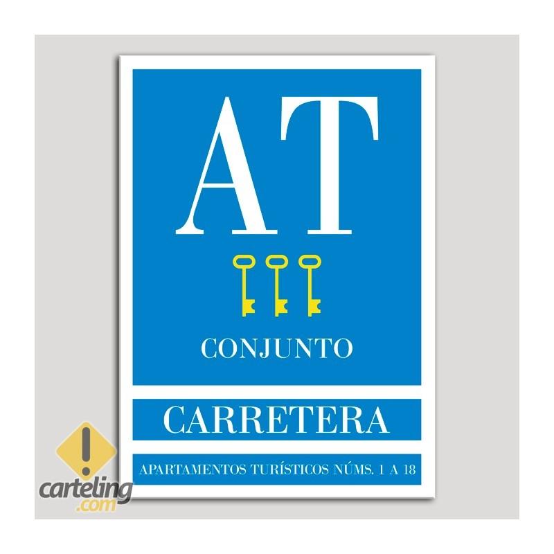 Placa distintivo Apartamento turístico - Conjunto - Carretera - Tres llaves-oro.Andalucía.