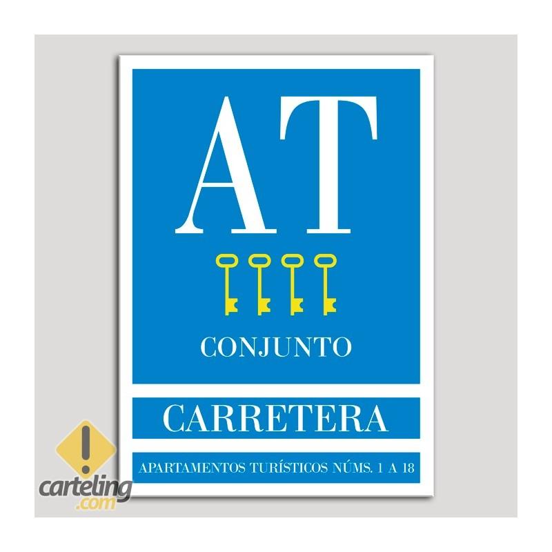 Placa distintivo Apartamento turístico - Conjunto - Carretera - Cuatro llaves-oro.Andalucía.