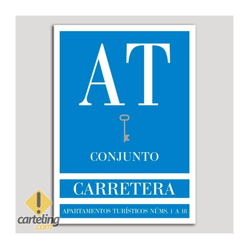 Placa distintivo Apartamento turístico - Conjunto - Carretera - Una llave-plata.Andalucía.