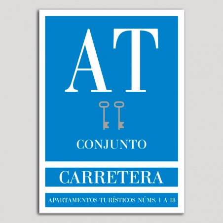 Placa distintivo Apartamento turístico - Conjunto - Carretera - Dos llaves-plata.Andalucía.